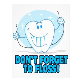 don't forget to floss flossing cartoon tooth flyer