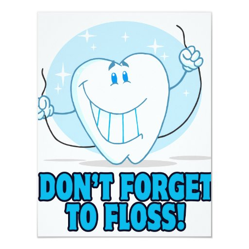 don't forget to floss flossing cartoon tooth personalized invitation