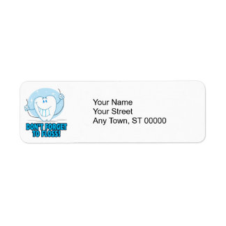 don't forget to floss flossing cartoon tooth return address label