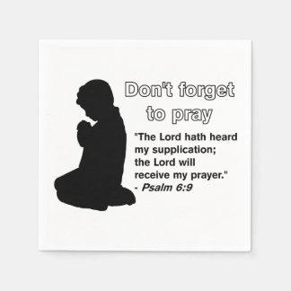 Don't Forget to Pray (Praying Silhouette) Napkins Disposable Napkin