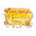 Don't forget to smile today - hand lettered postcards