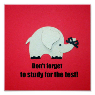 Don't forget to study for the test! poster