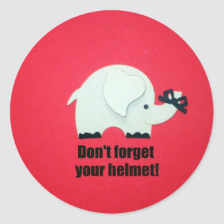 Don't forget your helmet! classic round sticker