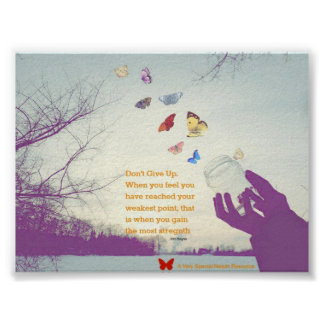 Don't Give Up Butterfly Poster