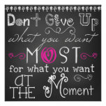 Don't Give Up Chalkboard Look Poster
