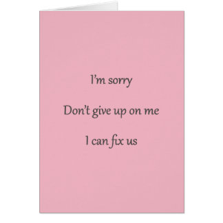 Don't Give Up On Me Pink Card
