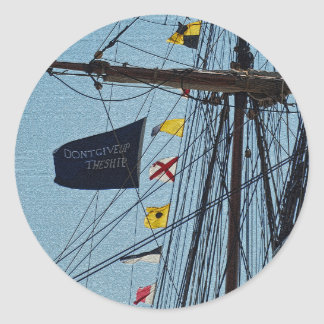 Don't Give Up The Ship Flag Sticker