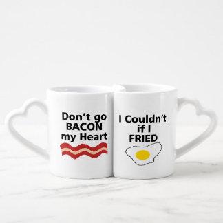 DON'T GO BACON MY HEART I COULDN'T IF I FRIED COFFEE MUG SET