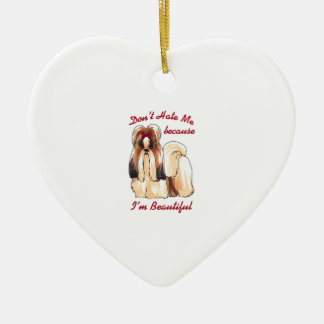 DONT HATE ME Double-Sided HEART CERAMIC CHRISTMAS ORNAMENT