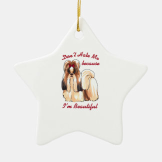 DONT HATE ME Double-Sided STAR CERAMIC CHRISTMAS ORNAMENT