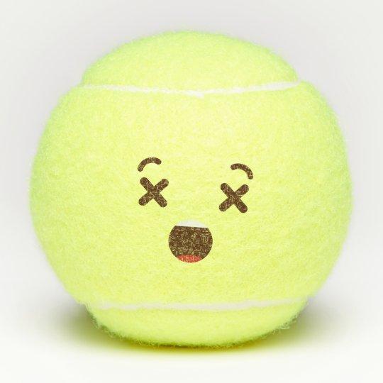 Don T Hit Me Kawaii Cute Emoticon Emoji Tennis Balls Zazzle Com