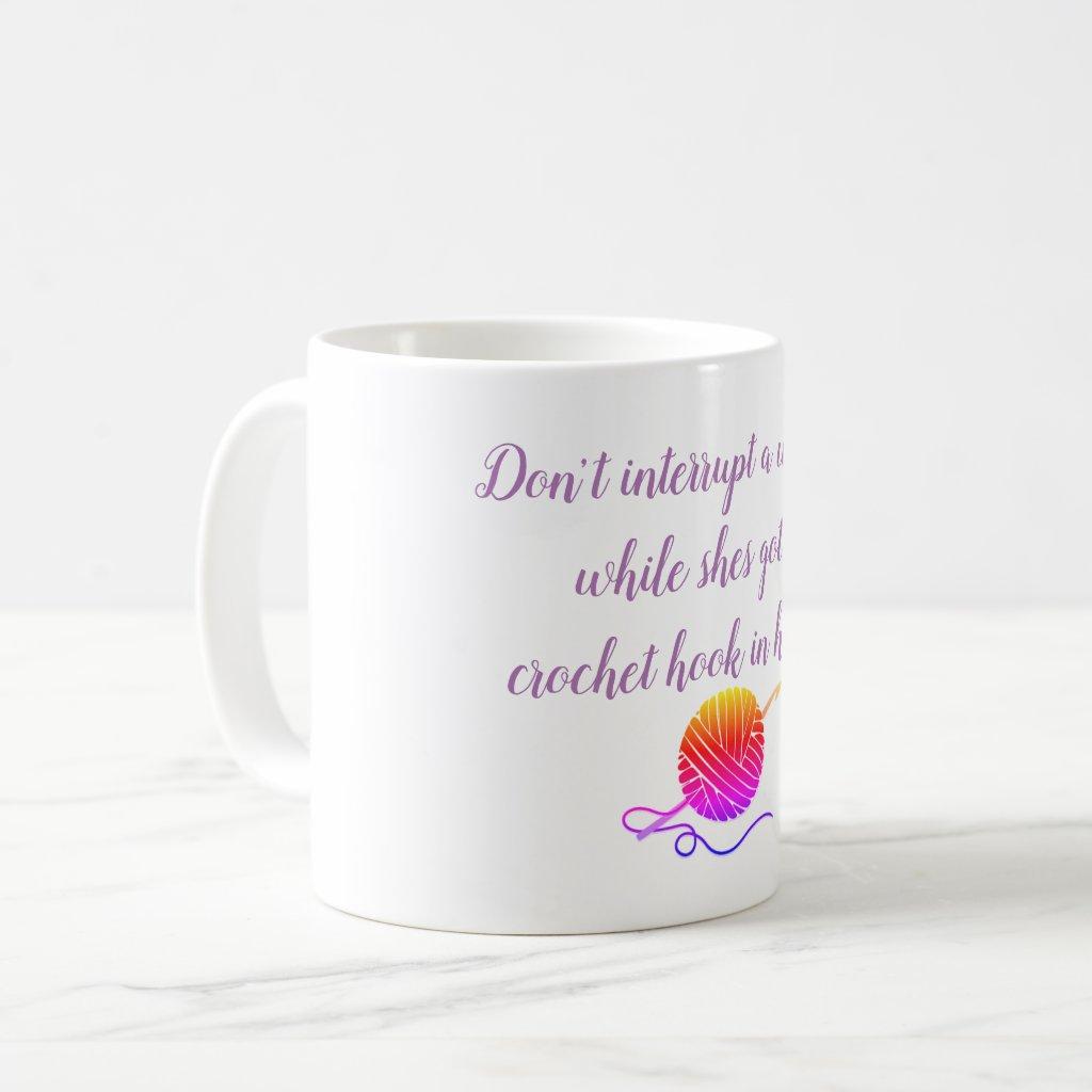 Don't interrupt crochet coffee mug