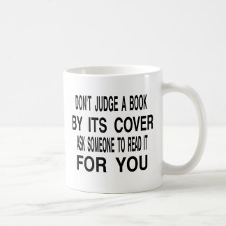 don't judge a book by its cover coffee mug
