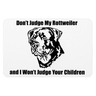 Don't Judge My Dog (Rottweiler) Rectangular Photo Magnet