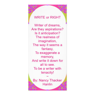Don't Just Read~ BIG Bookmark 'WRITE' Personalized Rack Card