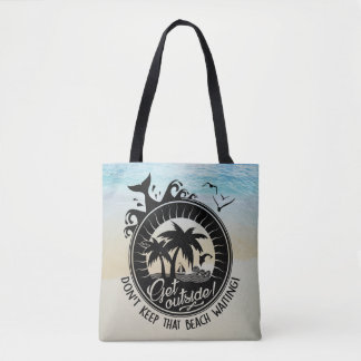 Don't Keep That Beach Waiting Funny Typography Pun Tote Bag