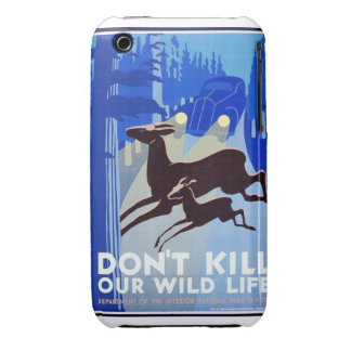 Don't Kill Our Wildlife Vintage WPA FAP Poster iPhone 3 Case-Mate Case