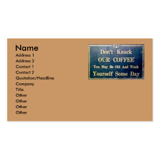 Don't Knock Our Coffee Business Card Templates