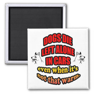 DONT LEAVE YOUR PETS ALONE IN A CAR 2 INCH SQUARE MAGNET