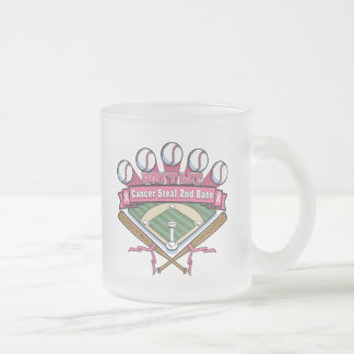 Don't Let Breast Cancer Steal 2nd Base 10 Oz Frosted Glass Coffee Mug