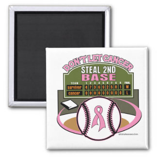 Dont Let Breast Cancer Steal 2nd Base Scoreboard 2 Inch Square Magnet