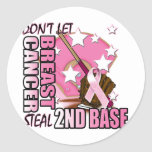 Don't Let Breast Cancer Steal 2nd Base Classic Round Sticker