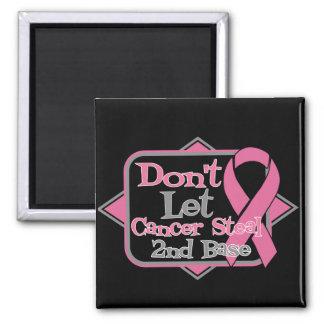 Dont Let Cancer Steal 2nd Base - Breast Cancer 2 Inch Square Magnet