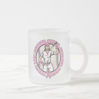 Don't Let Cancer Steal 2nd Base Breast Cancer 10 Oz Frosted Glass Coffee Mug