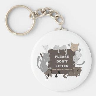 Don't Litter (Spay & Neuter) Basic Round Button Keychain