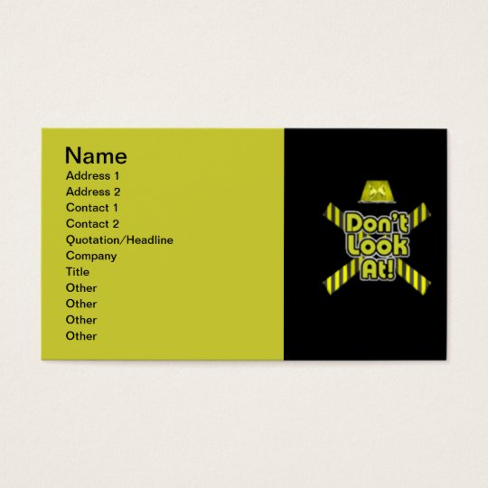 DONT LOOK AT WARNING FLASHING LIGHT CRIME TAPE BUSINESS CARD