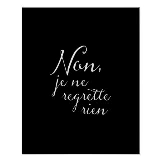 Don't Look Back - No Regrets French Inspirational Poster