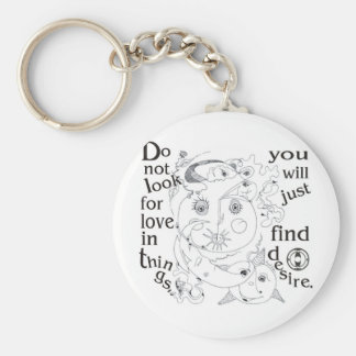 Dont look love in things, you´ll just find desire basic round button keychain