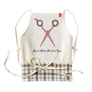 Don't Make Me Cut You (Pink Hair Cutting Scissors) Zazzle HEART Apron