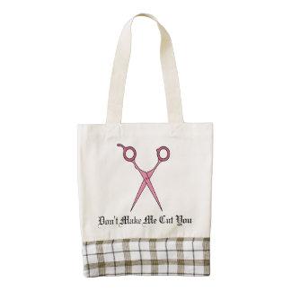 Don't Make Me Cut You (Pink Hair Cutting Scissors) Zazzle HEART Tote Bag