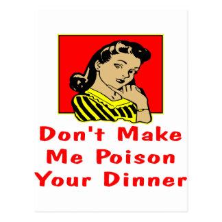 Don't Make Me Poison Your Dinner Retro Girl Postcard