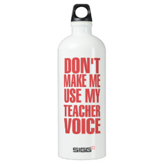 Don't Make Me Use My Teacher Voice (red) Aluminum Water Bottle