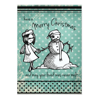 Don't Melt! Illustrated Christmas Card (Blue)