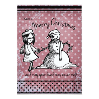 Don't Melt! Illustrated Christmas Card (Red)
