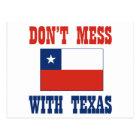 DON'T MESS TEXAS w/Chilean Flag Postcard
