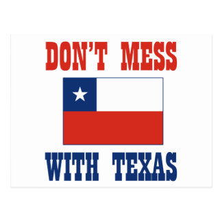 DON'T MESS TEXAS w/Chilean Flag Postcard