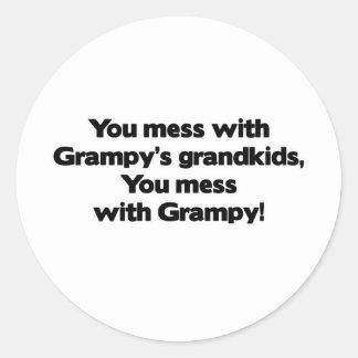 Don't Mess with Grampy's Grandkids Classic Round Sticker