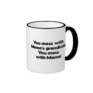 Don't Mess with Meme's Grandkids Ringer Mug
