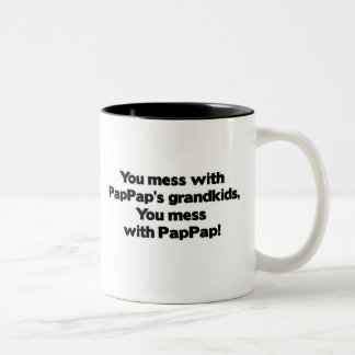 Don't Mess with PapPap's Grandkids Two-Tone Coffee Mug
