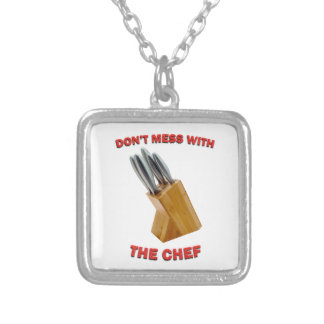 Don't Mess With The Chef Square Pendant Necklace