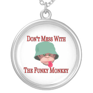 Don't Mess With The Funky Monkey Silver Plated Necklace