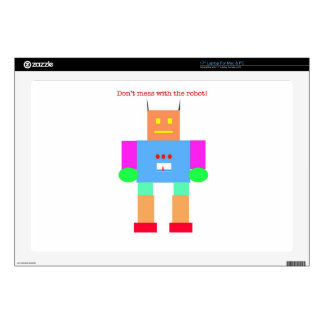 """Don't mess with the robot decal for 17"""" laptop"""