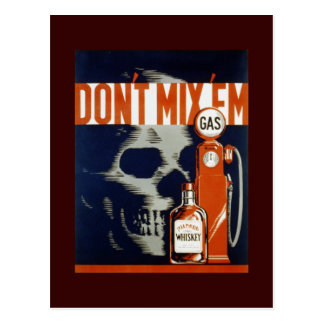 Don't Mix Em-Don't Drink and Drive Postcard