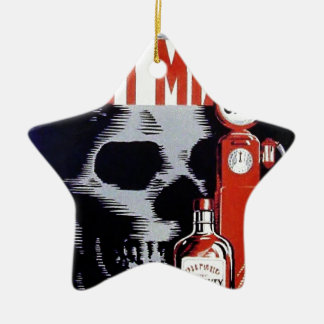Don't Mix Them Skull Whiskey Gas Vintage poster Double-Sided Star Ceramic Christmas Ornament