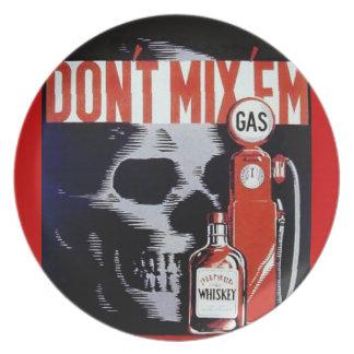 Don't Mix Them Skull Whiskey Gas Vintage poster Dinner Plates