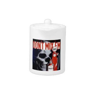 Don't Mix Them Skull Whiskey Gas Vintage poster Teapot